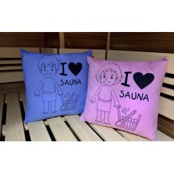 Polštář do sauny I Love Sauna-modrý