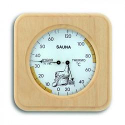 Teploměr vlhkoměr combi do sauny ve dřevě abachi