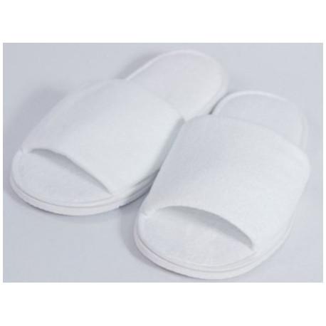 Dámske papuče do Sauny biele s otvorenou špičkou